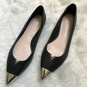 Black Leather Pointed Ballet Flats with Metal Toe